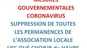 FERMETURE DE NOS PERMANENCES POUR CAUSE DE CONFINEMENT.